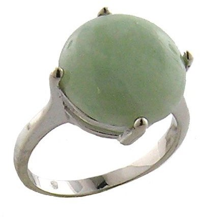 Sterling Silver Round Cabochon Ring - Jade Green