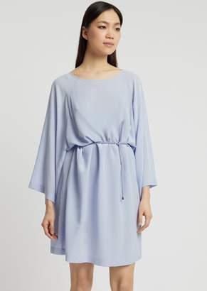 Emporio Armani Silk Crepe Dress With Kimono Sleeves