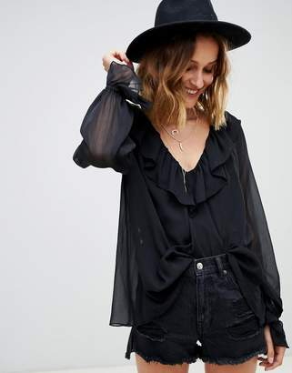 Asos Design DESIGN long sleeve sheer blouse with ruffle detail and cami