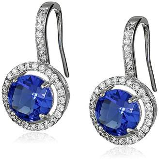 Sloane Rebecca Platinum Plated Sterling Silver Faceted Drop Earrings