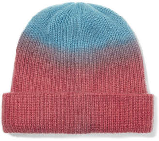 The Elder Statesman Watchman Tie-dyed Ribbed Cashmere Beanie - Red