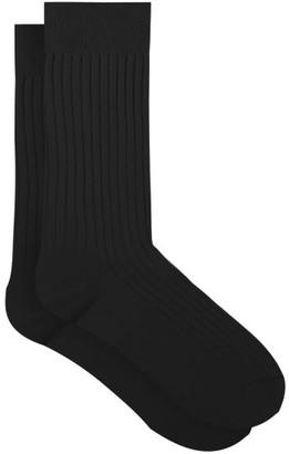 Pantherella Danvers Rib Knitted Socks - Mens - Dark Brown