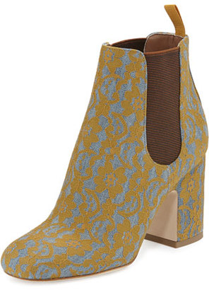 Laurence Dacade Mia Lace 85mm Chelsea Boot, Gray/Ochre $795 thestylecure.com