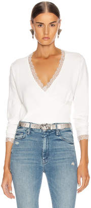 Jonathan Simkhai Knit Long Sleeve Wrap Top in White | FWRD