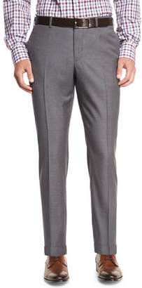 Isaia Twill Flat-Front Trousers, Light Gray