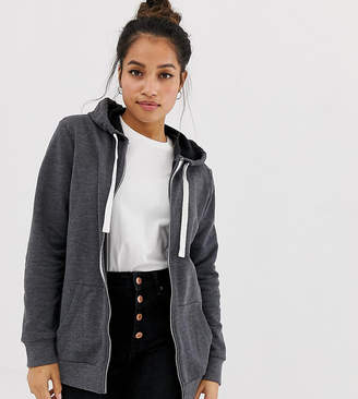 Asos DESIGN Petite zip through hoodie in charcoal