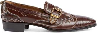 Gucci Embroidered leather and lizard loafer