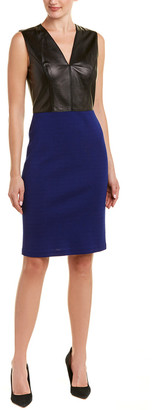 St. John Leather-Bodice Wool-Blend Sheath Dress
