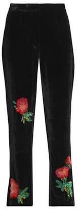 ALEXACHUNG Alexa Chung Sequin-Embellished Velvet Straight-Leg Pants