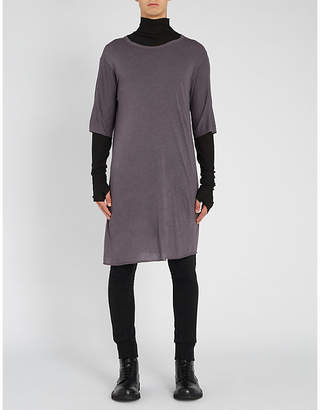 Boris Bidjan Saberi Raw-hem oversized cotton T-shirt