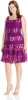 Julian Taylor Women's Plus Size Sleeveless Pintuck and Lace Dress