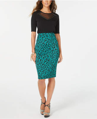 Thalia Sodi Printed Pencil Scuba Skirt