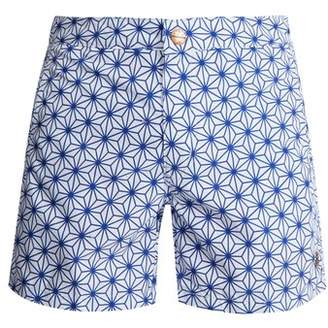 Retromarine - Spider Star Print Tailored Swim Shorts - Mens - Blue