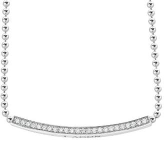 "Lagos Sterling Silver Caviar Spark Diamond Bar & Ball Chain Necklace, 16"""