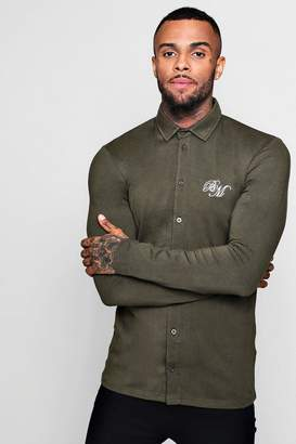 boohoo Long Sleeved Muscle Fit Shirt With BM Logo