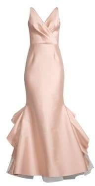 Sachin + Babi Chesterton Satin Wrap Bodice Mermaid Gown