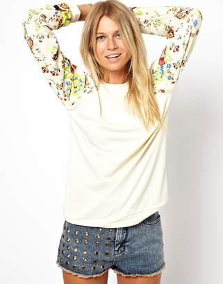 Asos DESIGN Boyfriend Sweatshirt in Neoprene With Floral Printed Sleeves
