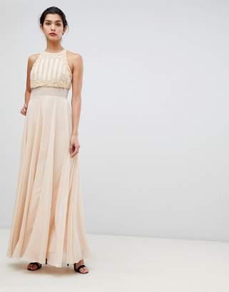 Asos Crop Top Maxi Dress With Pearl Embellishment