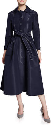 Atelier Caito For Herve Pierre A-Line Belted Silk Faille Gown