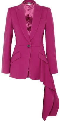 Alexander McQueen Asymmetric Ruffled Wool-blend Blazer - Pink