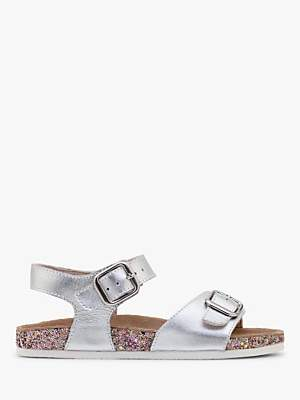 Boden Mini Children's Leather Sandals, Metallic Silver