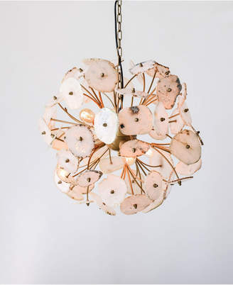 Agate & Metal Flower Pendant Light