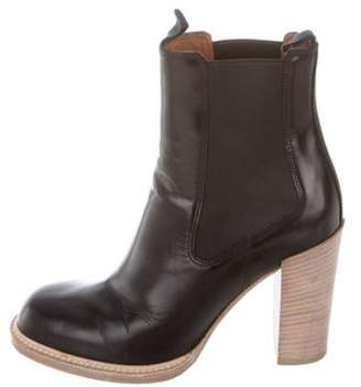Celine Céline Leather Round-Toe Ankle Boots Black Céline Leather Round-Toe Ankle Boots