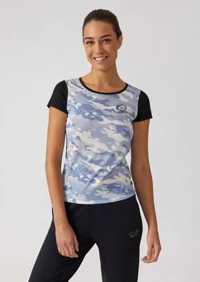 Emporio Armani Ea7 Cotton Jersey Crew Neck T-Shirt With Graphic Print