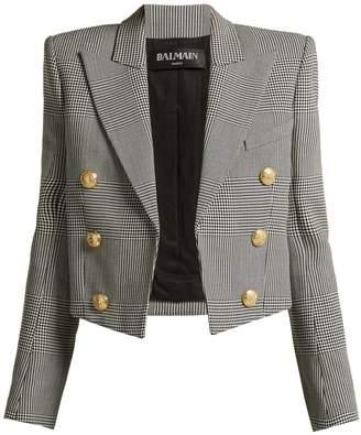 Balmain Prince of Wales virgin-wool cropped blazer
