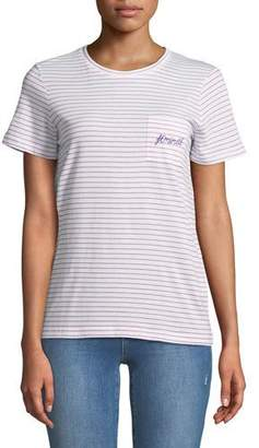 Club Monaco Leary Striped Embroidered Pocket Tee