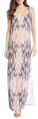 Karen Kane Abstract-Print Side-Slit Maxi Dress