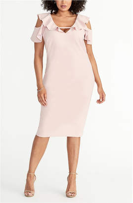 Rachel Roy Plus Size Off The Shoulder Ruffle Sleeve Dress