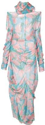 Yuhan Wang Peony Print Drape Dress