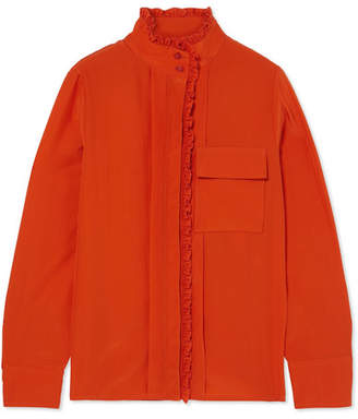 Chloé Ruffled Silk Crepe De Chine Shirt - Orange
