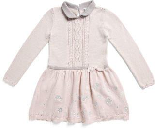 Toddler Girls Peter Pan Collar Cable Sweater Dress