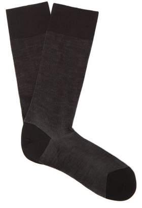 Falke - Shadow Bi Colour Knit Socks - Mens - Black