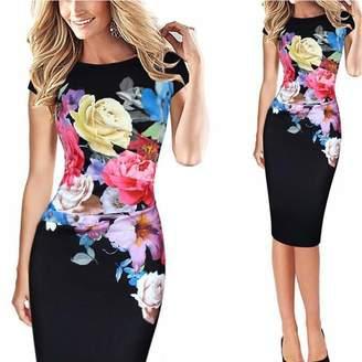 ee38de453b4ce spyman Women Pin up Summer Party Office Gown Robe Sexy 50s Vintage Big Swing  Dress