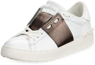 Valentino Leather Low-Top Metallic Colorblock Sneakers
