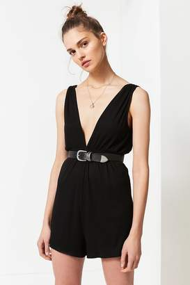 Urban Outfitters Ribbed Knit Plunging Babydoll Romper