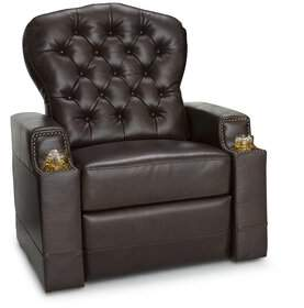Canora Grey Leather Power Recliner Tufted Backrest Individual Seating Canora Grey