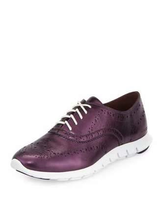 Cole Haan ZeroGrandTM Metallic Wing-Tip Oxford Sneaker, Elderberry/Optic White $228 thestylecure.com