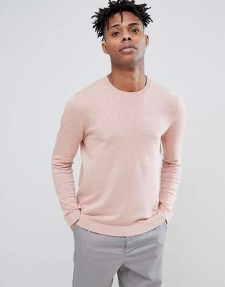 Asos DESIGN Cotton Sweater In Pale Pink