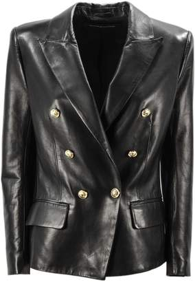 Alexandre Vauthier Black Leather Double-breasted Blazer.