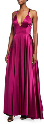 Milly Monroe Stretch-Charmeuse Strappy-Back Gown