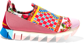 Dolce & Gabbana - Ibiza Suede-trimmed Printed Neoprene Slip-on Sneakers - Red $645 thestylecure.com