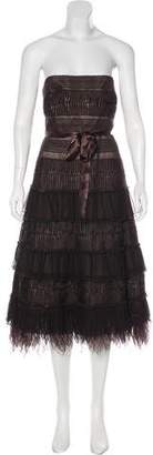 BCBGMAXAZRIA Feather-Trimmed Cocktail Dress