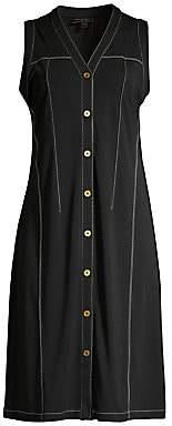 Donna Karan Women's Topstitch Button-Front Dress