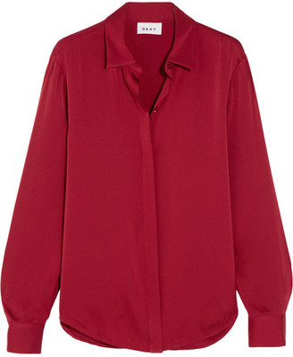 DKNY - Stretch-silk Crepe De Chine Blouse - Red $260 thestylecure.com