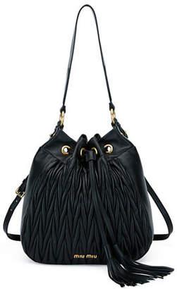 Miu Miu Matelasse Leather Hobo Bag