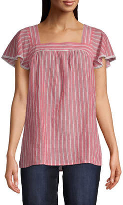 ST. JOHN'S BAY Womens Square Neck Short Sleeve Blouse